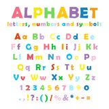 English color alphabet, numbers and symbols. Cartoon colorful alphabet on white background, uppercase and lowercase letters, numbers and symbols Stock Photo