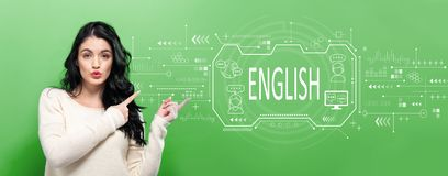 English concept with young woman stock image