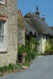 English Country cottage with thatched roof Royalty Free Stock Images