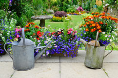 English country garden. A beautiful English country garden with two rusty old watering cans for added charm royalty free stock photos