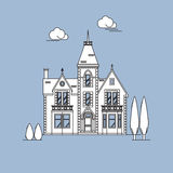 English country mansion. Old European style buildings. Royalty Free Stock Photos