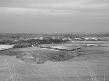 English country panorama in Salisbury in black and white Royalty Free Stock Photos