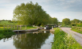 English country scene with canal and lock gates Stock Photos