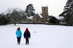 English country village in the snow Stock Photography