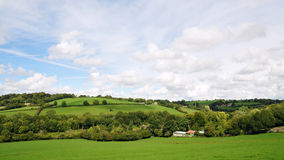English Countryside. Landscape View of Green Fields in the Avon Valley near Bath in England Royalty Free Stock Photo