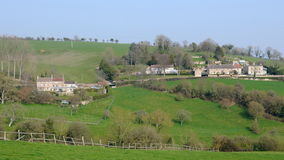 English Countryside. English Hamlet Nestled in Green Fields in the Avon Valley on the Wiltshire Somerset Border Royalty Free Stock Images