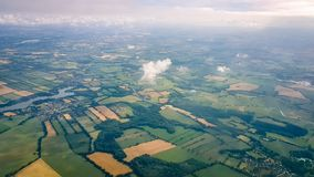 English Countryside Aerial shot from plane stock photography