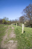 The English Countryside. A footpath running down the side of a fence in the English countryside Royalty Free Stock Image