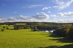 English countryside: green fields, trees and lake. Autumn countryside landscape taken in North Yorkshire, England. Early evening at fields, looking at distant Royalty Free Stock Photography
