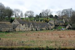 English countryside houses in the cotswolds landscape Royalty Free Stock Image