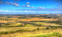 English countryside from Ivinghoe Beacon Chiltern Hills Buckinghamshire UK in colourful HDR Stock Images