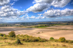English countryside from Ivinghoe Beacon Chiltern Hills Buckinghamshire UK in colourful HDR Royalty Free Stock Image