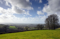 English Countryside in March. The rolling hills of Cranborne Chase in Dorset Royalty Free Stock Images