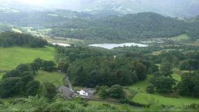 English countryside, mountain valley. Rural England view from above.Lake district, Elterwater lake in the mountain valley stock video
