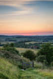 English countryside rural landscape in Summer sunset light. English countryside landscape in Summer sunset light Royalty Free Stock Photo