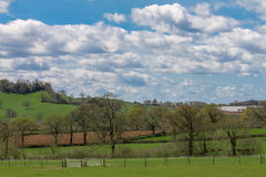 English Countryside. View across farmland in Devon, UK on a sunny day Stock Images