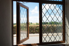 English countryside through a window.. Stock Photo