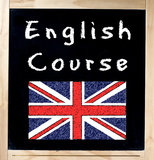 English Course on Blackboard Royalty Free Stock Images