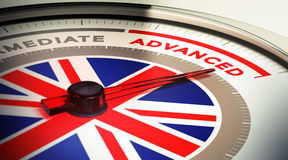 English Courses Level. Dial with english flag with needle pointing the word advanced. concept image for illustration of english courses levels Stock Image