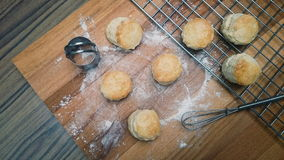 English Cream Scones on the wood board with cutter and Whisk Stock Photos