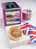 English crumpets with butter in closeup Stock Photo