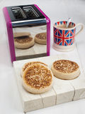 English crumpets with cup of tea Royalty Free Stock Images