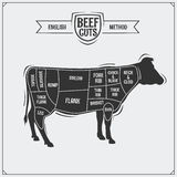 English cuts of beef. Vector illustration. Black and white Stock Images