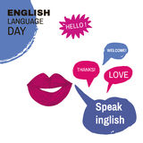 English day8. Learning languages design concept.Template poster, banner.Vector illustration Stock Photo