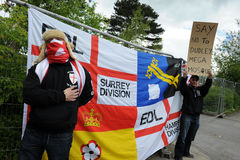 English Defence League Protest. Protestors from the EDL - English Defence League Royalty Free Stock Photos