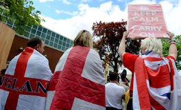English Defence League Protest. Protestors from the EDL - English Defence League Royalty Free Stock Photography