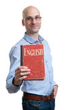 English education. Concept. Happy man with textbook. Isolated Stock Photos