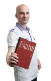 English education. Happy casual man with book Stock Photo