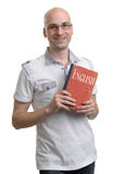English education. Happy casual man with book Stock Images