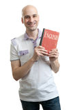 English education. Happy casual man with book Royalty Free Stock Photography