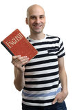 English education. Happy man with textbook Royalty Free Stock Image