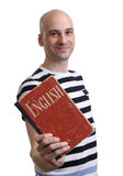 English education. Happy man with textbook Royalty Free Stock Photo