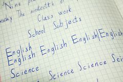 English education, vocabulary notebook with inscription English, science words Stock Photos