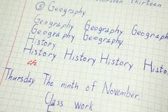 English education, vocabulary notebook with inscription History, Geography words Stock Photo