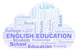 English Education word cloud. English Education word cloud, wordcloud made with text only stock illustration
