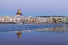 English Embankment, Neva and Saint Isaac's Cathedral, St. Peters Stock Photography