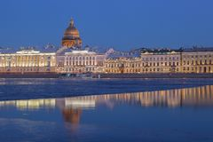 English Embankment and Saint Isaac's Cathedral at sunset, St. Pe Stock Image