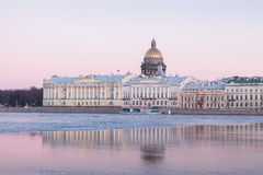 English Embankment and Saint Isaacs Cathedral, St. Petersburg Royalty Free Stock Photos