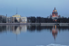 The English embankment, St. Isaac Cathedral, St. Petersburg ,Russia Stock Photo