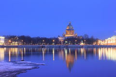 The English embankment, St. Isaac Cathedral, St. P Stock Photo