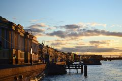 The English Embankment at sunset, St.Petersburg Stock Images
