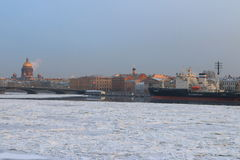 English Embankment in winter Stock Image