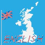 English with England Great Britain islands and flag stock illustration