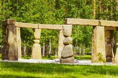 Stonehenge in the Russian Park. The English equivalent of Stonehenge in the Russian forest nature Park stock photography