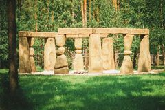 Stonehenge in the Russian Park. The English equivalent of Stonehenge in the Russian forest nature Park stock photos