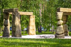 Stonehenge in the Russian Park. The English equivalent of Stonehenge in the Russian forest nature Park royalty free stock image